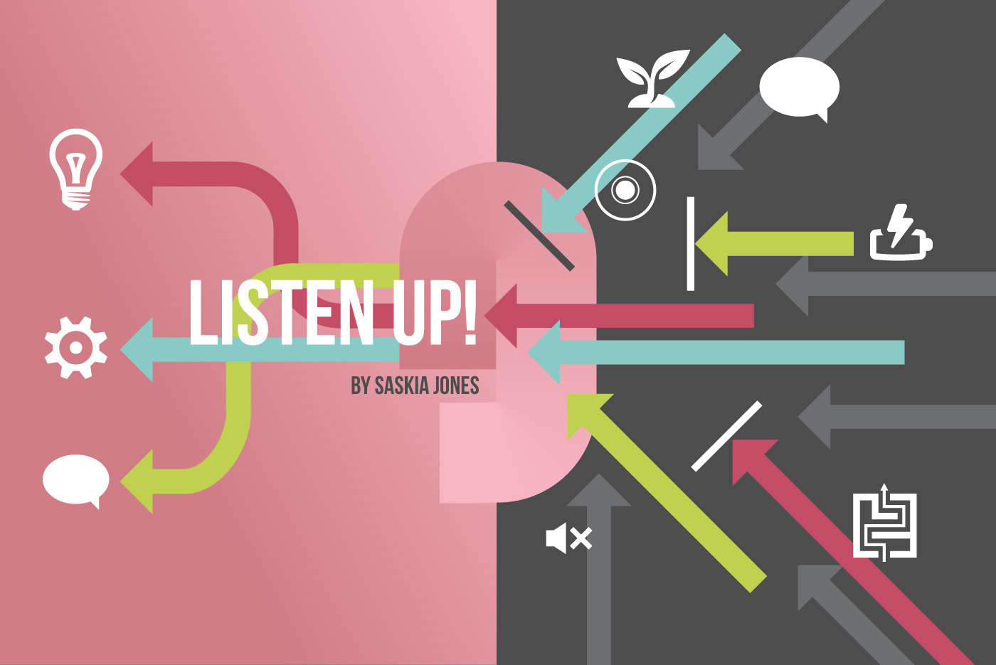 An ear surrounded by geometric arrows demonstrating the importance of listening in internal communications, accompanied by the text 'Listen Up! (by Saskia Jones)'
