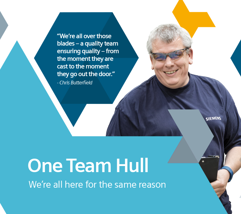 Creative internal comms idea: H&H case study - Siemens. Wall graphic containing smiling emplyee combined with the text: One team Hull - we're all going in the same direction