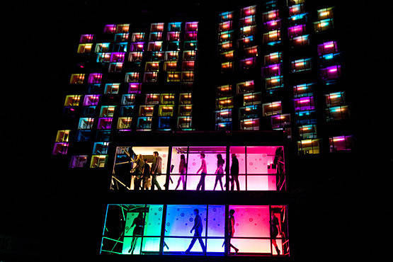 Creative internal comms idea: surprise Target light show displaying bright lights and window dancers