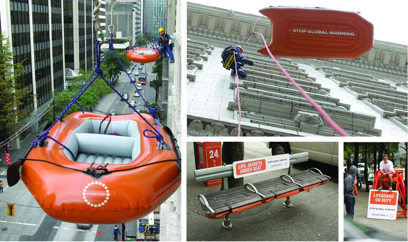 Creative internal comms idea: Offsetters global warming campaign, showing lifeboats hanging from buildings, lifeguards stationed on public walkways, and life jackets fastened to park benches