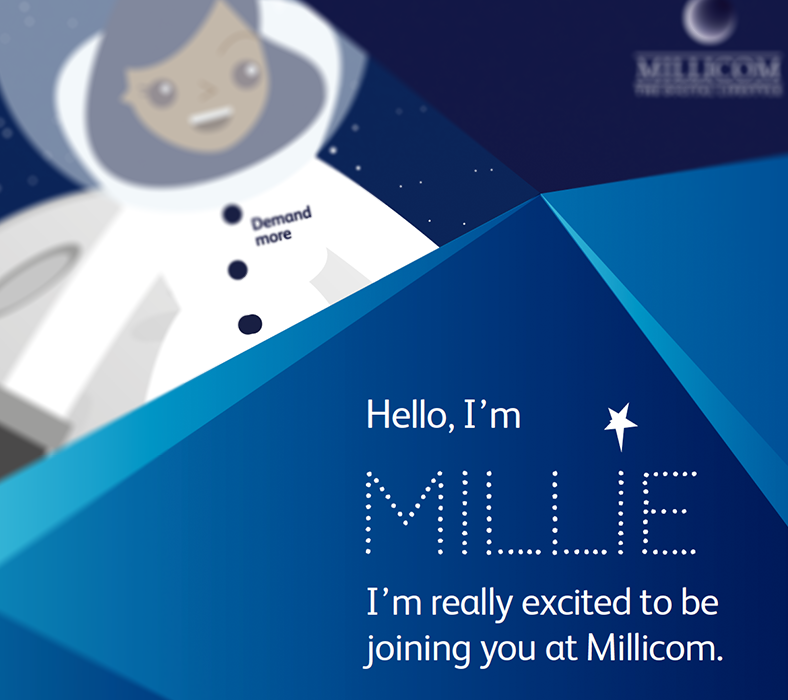 Creative internal comms idea: H&H case study - Millicom, showing avatar of Millie and text reading 'Hello, I'm Millie. I'm really excited to be joining you at Millicom'