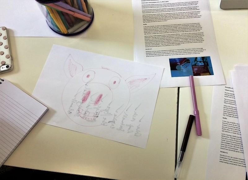 IoIC Humber Hub Number 2 - a pig drawn on some paper
