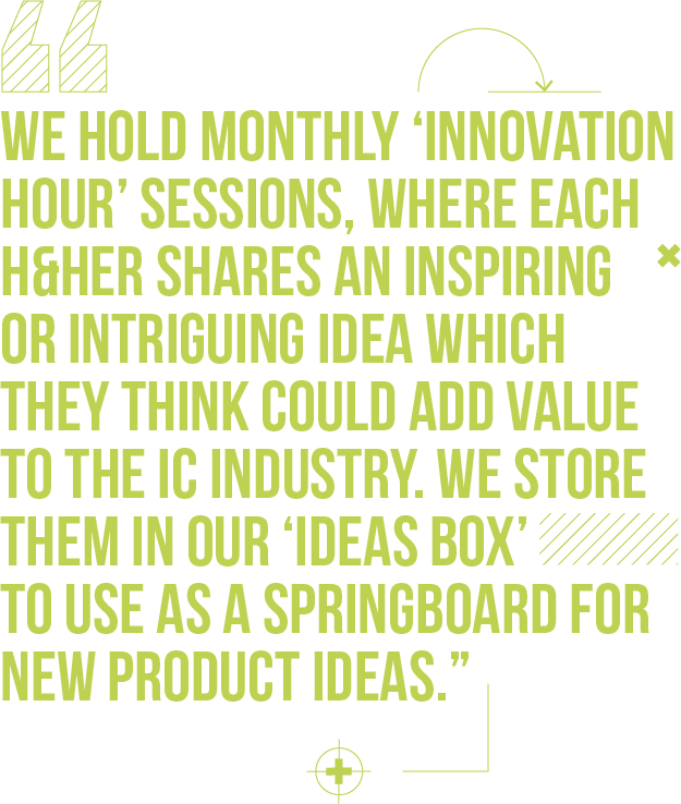 We hold monthly 'Innovation Hour' sessions, where each H&Her shares an inspiring or intriguing idea which they think could add value to the IC industry. We store them in our 'ideas box' to use as a springboard for new product ideas.
