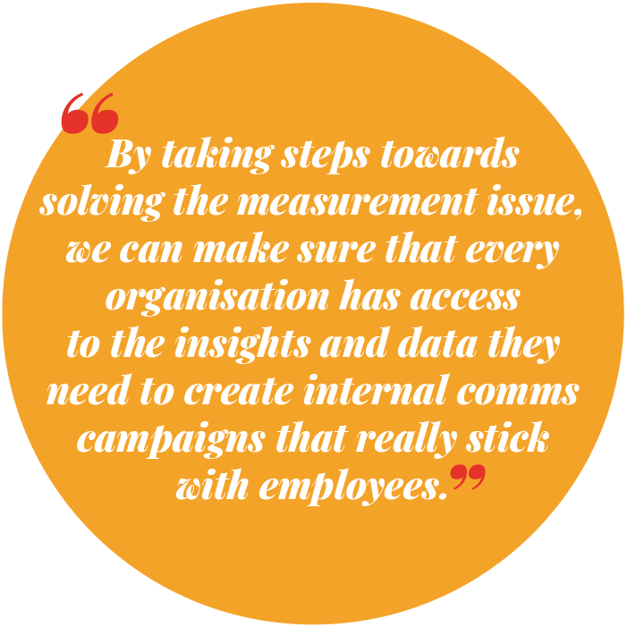 By taking steps towards solving the measurement issue, we can make sure that every organisation has access to the insights and data they need to create internal comms campaigns that really stick with employees