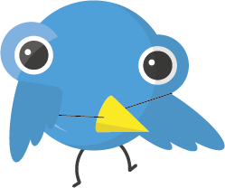Paul dressed up as the Twitter bird logo