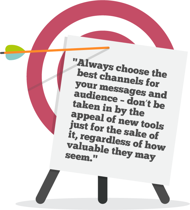 Always choose the best channels for your messages and audience – don't be taken in by the appeal of new tools just for the sake of it, regardless of how valuable they may seem.