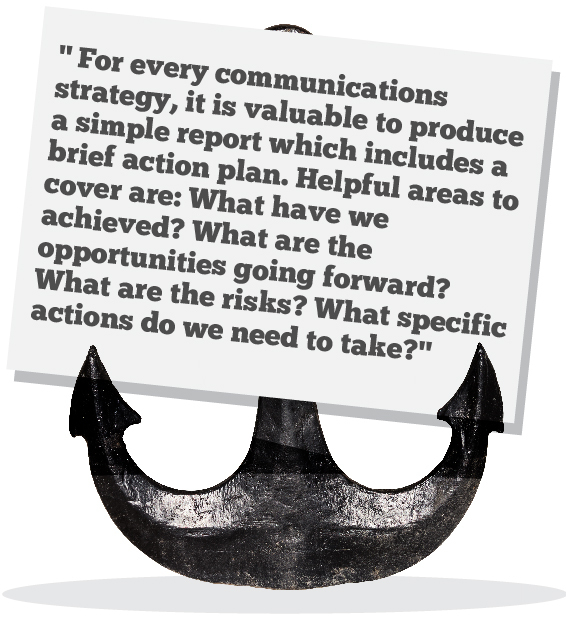 For every communications strategy, it is valuable to produce a simple report which includes a brief action plan. Helpful areas to cover are: What have we achieved? What are the opportunities going forward? What are the risks? What specific actions do we need to take?