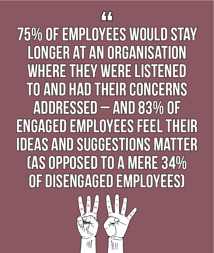 Internal comms best practice: 75% of employees would stay longer at an organisation where they were listened to and had their concerns addressed – and 83% of engaged employees feel their ideas and suggestions matter (as opposed to a mere 34% of disengaged employees)