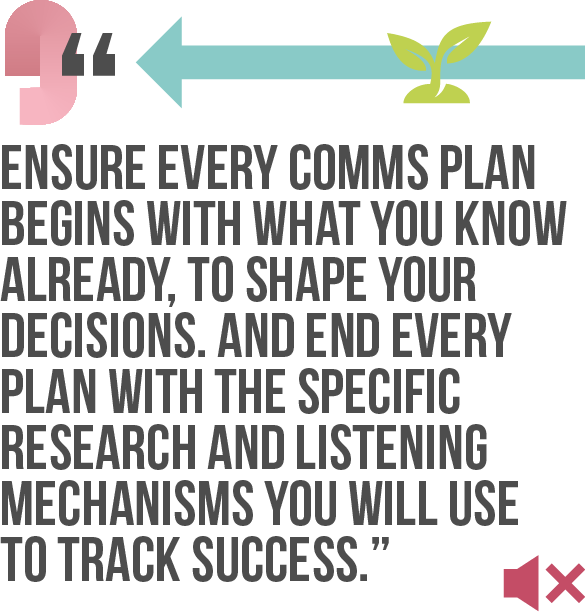 Ensure every comms plan begins with what you know already, to shape your decisions. And end every plan with the specific research and listening mechanisms you will use to track success