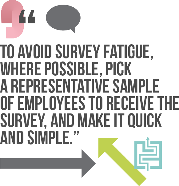 To avoid survey fatigue, where possible, pick a representative sample of employees to receive the survey, and make it quick and simple
