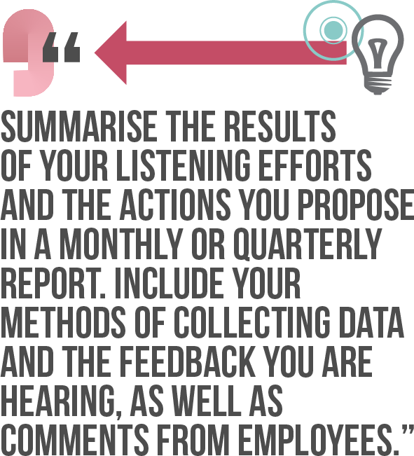 Summarise the results of your listening efforts and the actions you propose in a monthly or quarterly report. Include your methods of collecting data and the feedback you are hearing, as well as comments from employees