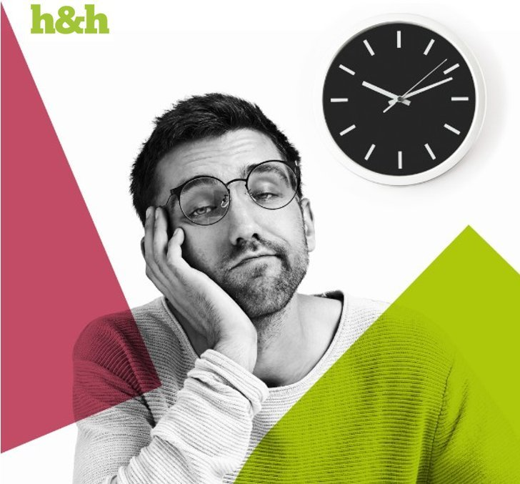 Bored man who's switched off in his meeting, a visual asset for H&H's Humber Business Week 2018 event