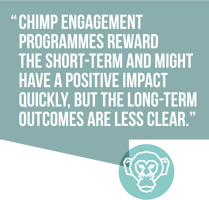 Chimp engagement programmes reward the short-term and might have a positive impact quickly, but the long-term effects outcomes are less clear