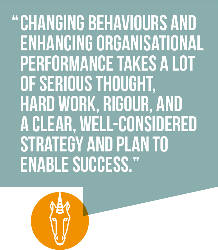 4) Changing behaviours and enhancing organisational performance takes a lot of serious thought, hard work, rigour, and a clear, well-considered strategy and plan to enable success