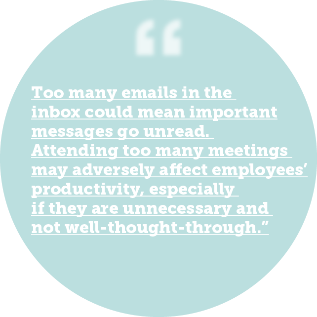 Too many emails in the inbox could mean important messages go unread. Attending too many meetings may adversely affect employees' productivity, especially if they are unnecessary and not well-thought-through
