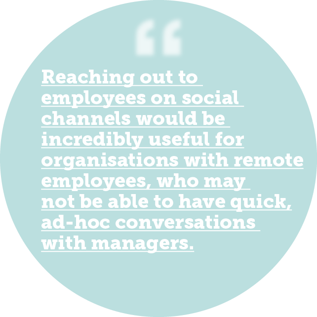 Reaching out to employees on social channels would be incredibly useful for organisations with remote employees, who may not be able to have quick, ad-hoc conversations with managers