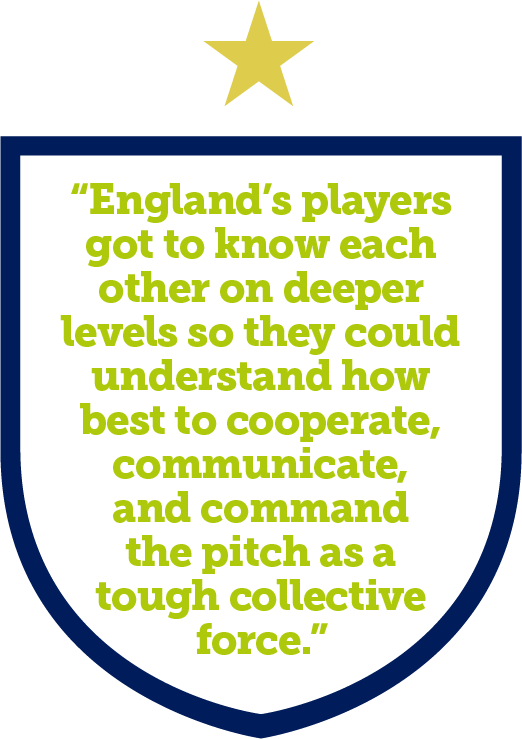 The England team got to know each other on deeper levels so they could understand how best to cooperate, communicate, and command the pitch as a tough collective force