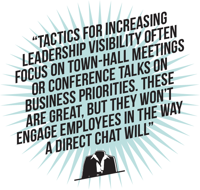 Tactics for increasing leadership visibility often focus on town-hall meetings or conference talks on business priorities. These are great, but they won't engage employees in the way a direct chat will