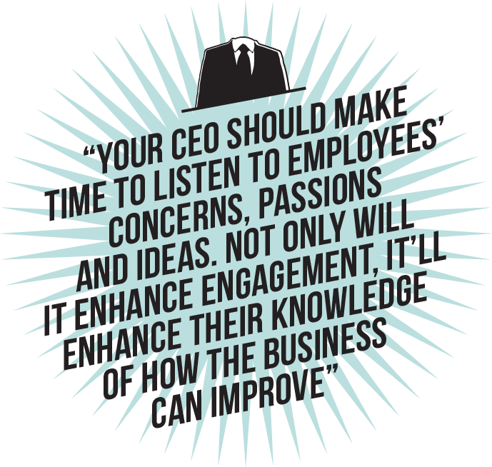 Your CEO should make time to listen to employees' concerns, passions and ideas. Not only will it enhance engagement, it'll enhance their knowledge of how the business can improve