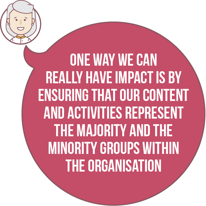 One way we can really have impact is by ensuring that our content and activities represent the majority and the minority groups within the organisation