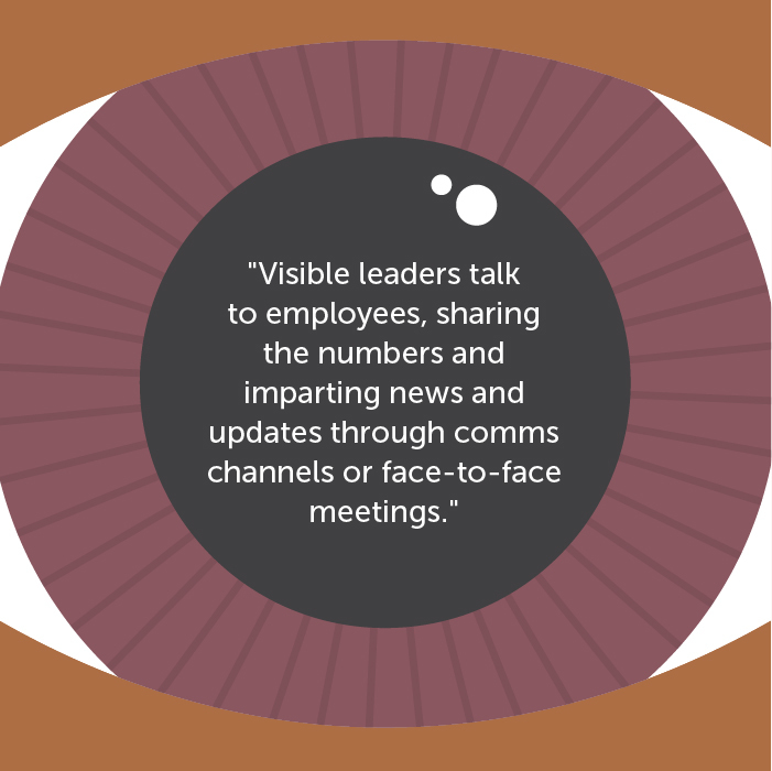 Visible leaders talk to employees, sharing the numbers and imparting news and updates through comms channels or face-to-face meetings