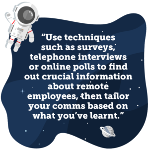 Use techniques such as surveys, telephone interviews or online polls to find out crucial information about remote employees, then tailor your comms based on what you've learnt