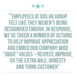 Culture of recognition extraction quote 2: Employees at DAS UK Group felt like they weren't being recognised enough. In response, we've taken a number of actions to help improve appreciation and embed our company-wide RIGHT values – Respect, Improve, Go The Extra Mile, Honesty and Think Customer