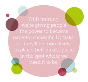 Why internal communications should be everybody's responsibility quote 2: With training, we're giving people the power to become experts in specific IC tasks, so they'll be more likely to place their puzzle piece in the spot where we need it to be