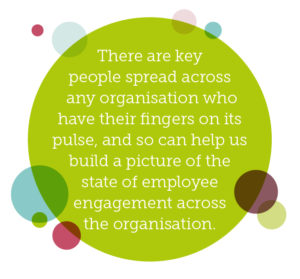 Why internal communications should be everybody's responsibility quote 3: There are key people spread across any organisation who have their fingers on its pulse, and so can help us build a picture of the state of employee engagement across the organisation