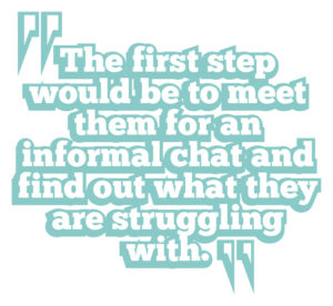 5 ways to boost leadership communication quote 1: The first step would be to meet them for an informal chat and find out what they are struggling with.