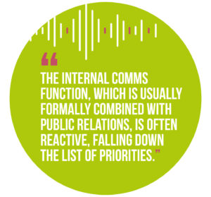 Symphonic Management, Quote 3: The internal communications function, which is usually formally combined with public relations, is often reactive, falling down the list of priorities.