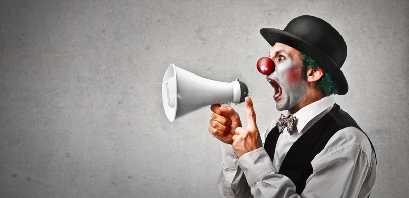 content clown with megaphone800