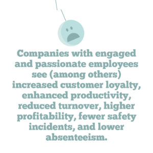 4 key strategies to help you improve employee engagement in your organisation, Quote 2: Companies with engaged and passionate employees see (among others) increased customer loyalty, enhanced productivity, reduced turnover, higher profitability, fewer safety incidents, and lower absenteeism