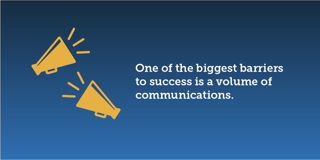 one of the biggest barriers to success is a volume of communications that is deemed excessive, and a resulting difficulty to cut through the noise.