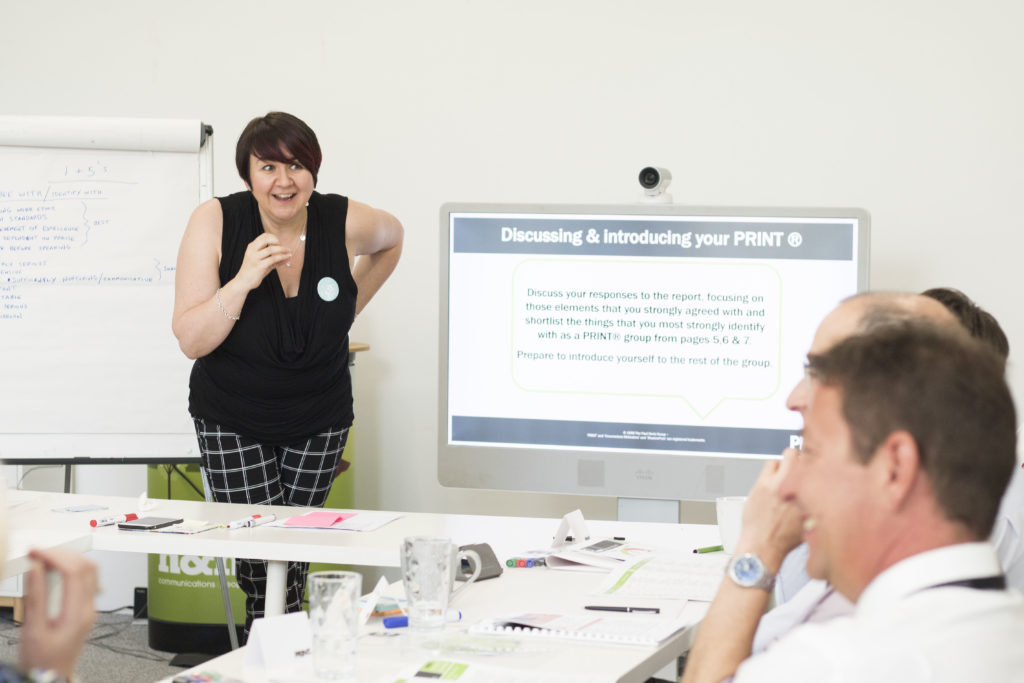 L&OD Specialist Kay leading a PRINT® Discovery Workshop